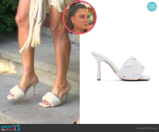 The Lido Sandals by Bottega Veneta worn by Kyle Richards  on The Real Housewives of Beverly Hills