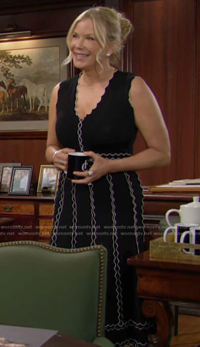 Brooke's black dress with white trim on The Bold and the Beautiful