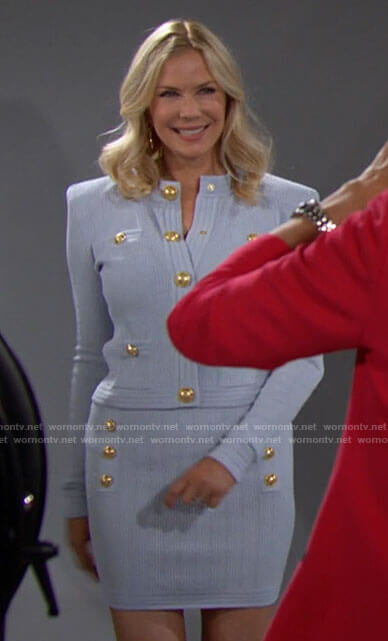 Brooke's light blue cardigan and skirt set with gold buttons on The Bold and the Beautiful