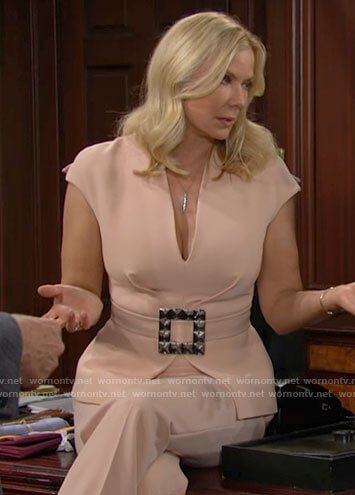 Brooke's blush pink belted top on The Bold and the Beautiful