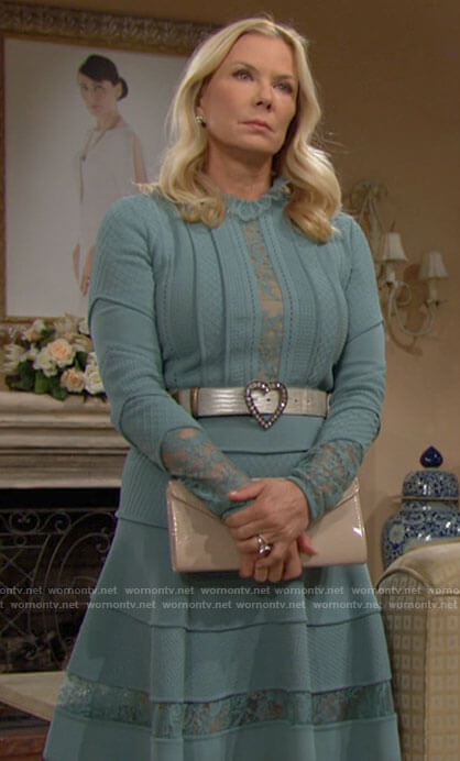 Brooke's lace inset dress on The Bold and the Beautiful