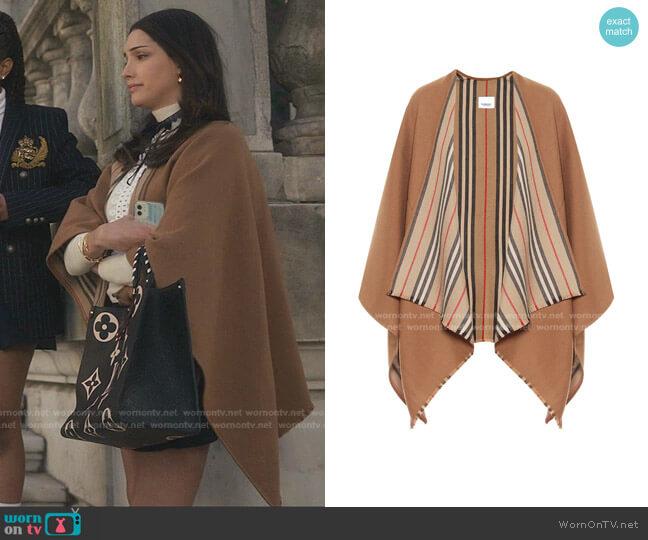 Icon Stripe Wool Cape by Burberry worn by Luna La (Zión Moreno) on Gossip Girl