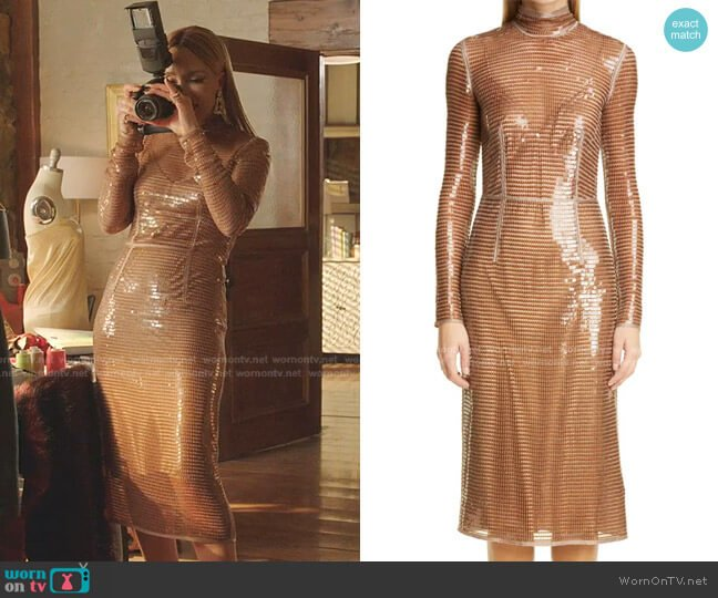 Sequin Mesh Long Sleeve Dress by Burberry worn by Dominique Deveraux (Michael Michele) on Dynasty