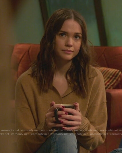 Callie's brown polo sweater on Good Trouble