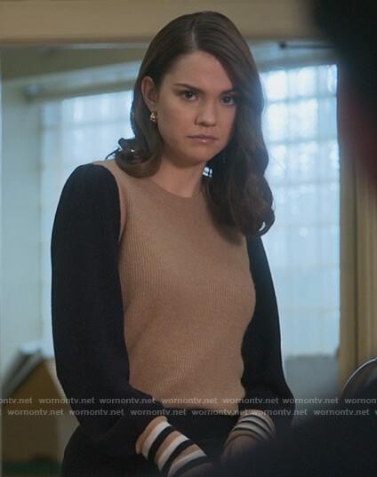 Callie's grey half-zip sweater on Good Trouble
