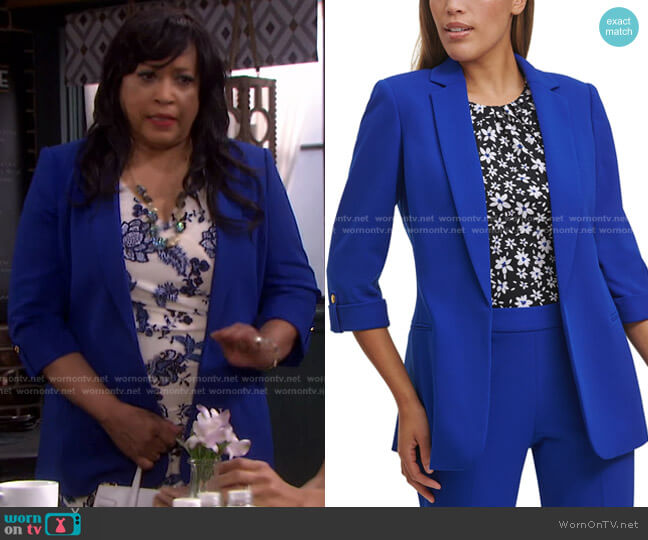 Open-Front Roll-Tab Blazer by Calvin Klein worn by Paulina Price (Jackée Harry) on Days of our Lives