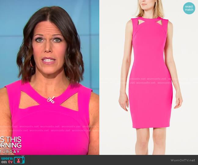 Calvin Klein Cutout-Collar Sheath Dress worn by Dana Jacobson  on CBS Mornings