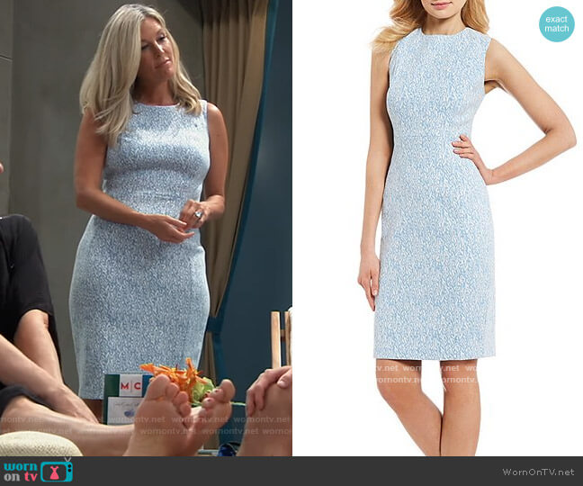Printed Jacquard Sleeveless Sheath Dress by Calvin Klein worn by Carly Corinthos (Laura Wright) on General Hospital