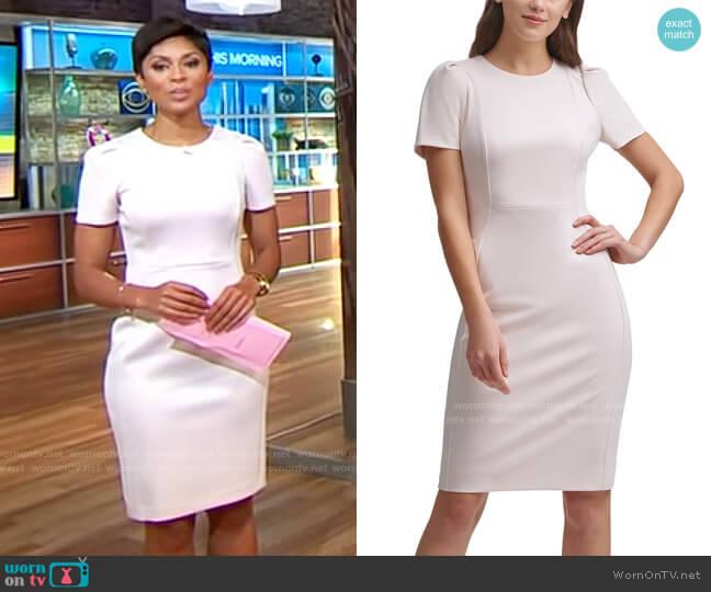 Calvin Klein Blossom Puff-Sleeve Sheath Dress worn by Jericka Duncan  on CBS Mornings