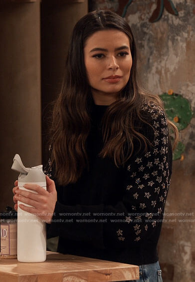 Carly's black star embellished sweater on iCarly