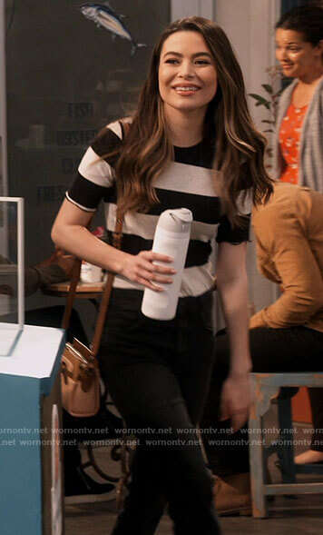 Carly's black and white striped top on iCarly