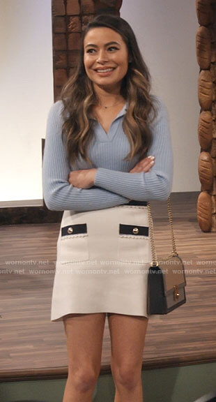 Carly's blue polo and white skirt with front pockets on iCarly