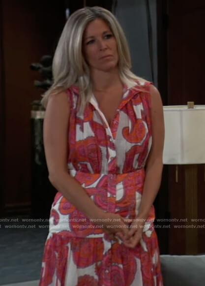 Carly's sleeveless paisley print dress on General Hospital