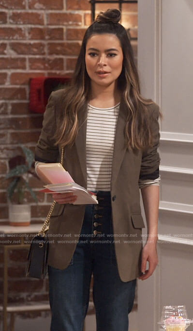 Carly's striped top and olive blazer on iCarly