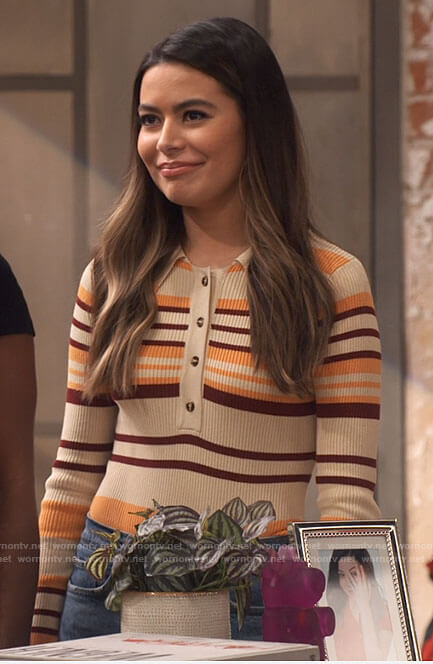 Carly's striped polo top and jeans on iCarly