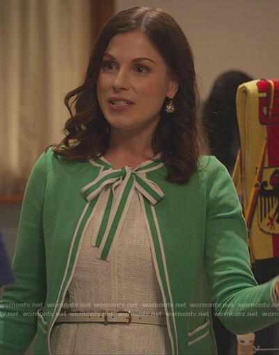 Caroline's green contrast tie-neck cardigan on Sex/Life