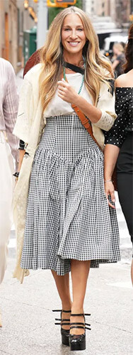 Carrie's gingham checked skirt on And Just Like That... (Sex and the City reboot)