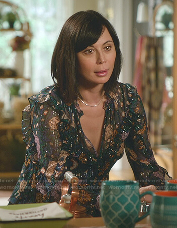 Cassie's metallic floral ruffle blouse on Good Witch