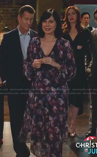 Cassie's purple floral pleated dress on Good Witch