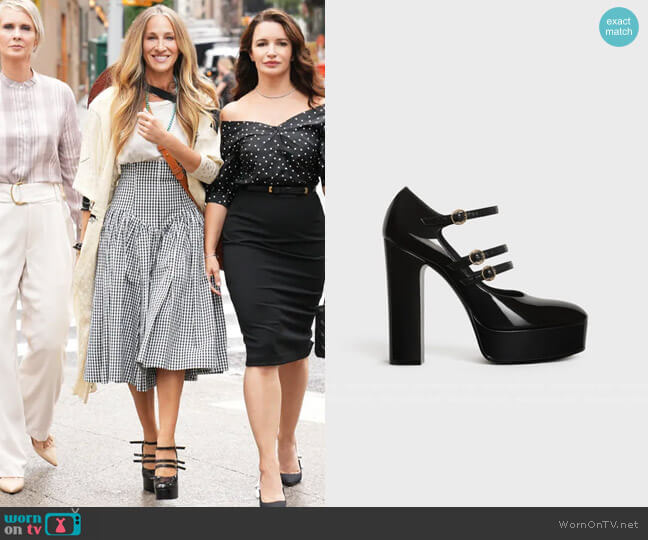 Celine Melody Tri-Buckle Mary Jane Pump in Patent Lambskin worn by Carrie Bradshaw (Sarah Jessica Parker) on And Just Like That (Sex & the City reboot)