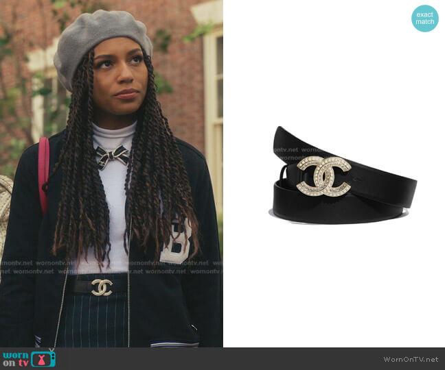 Calfskin Belt by Chanel worn by Monet de Haan (Savannah Lee Smith) on Gossip Girl