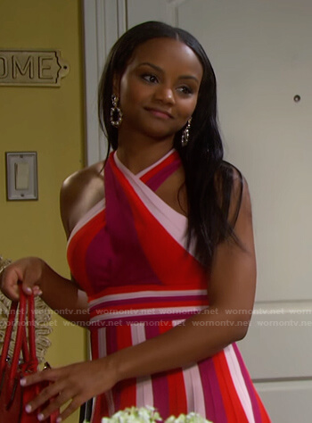 Chanel's red striped cross neck dress on Days of our Lives