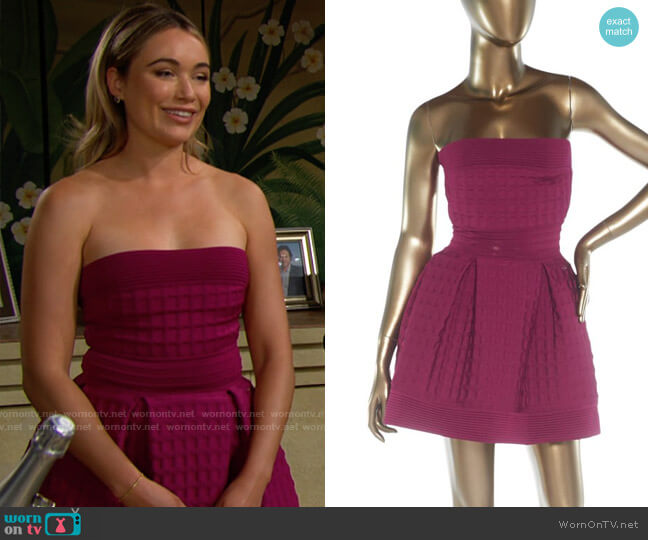 Chanel Strapless Pleated Dress worn by Flo Fulton (Katrina Bowden) on The Bold & the Beautiful