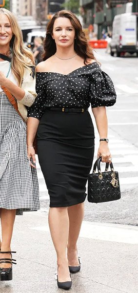 Charlotte's black polka dot top on And Just Like That... (Sex and the City reboot)