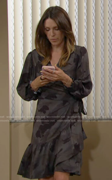 Chloe's grey camo print wrap dress on The Young and the Restless