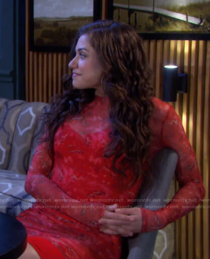 Ciara's red print sheer mini dress on Days of our Lives