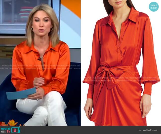 Carine Silk Bodysuit by Cinq a Sept worn by Amy Robach  on Good Morning America