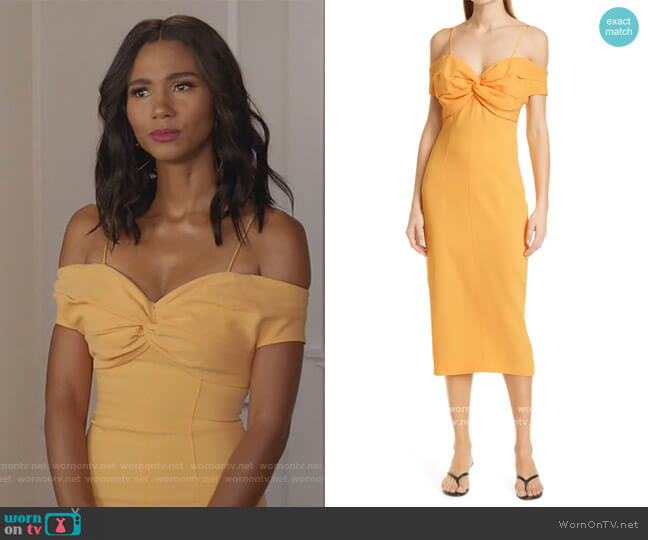 Jody Convertible Strap Off the Shoulder Dress by Cinq a Sept worn by Layla Keating (Greta Onieogou) on All American