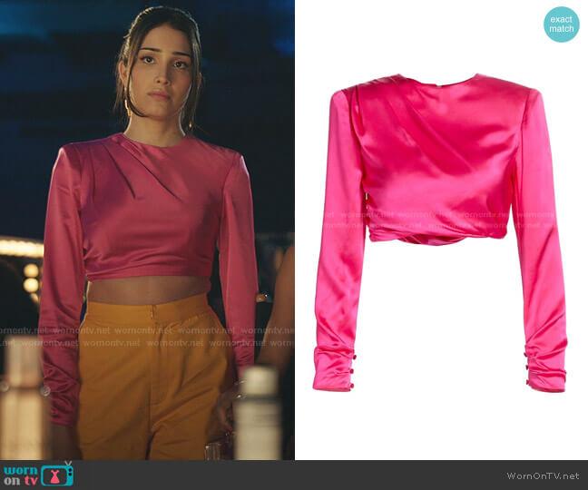 Kaitlyn Satin Top by Cinq a Sept worn by Luna La (Zión Moreno) on Gossip Girl