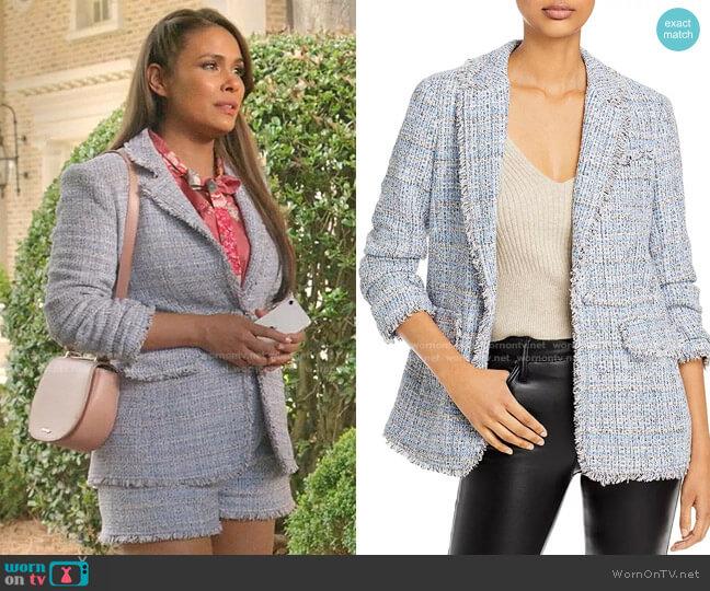 Khloe Bouclé Blazer by Cinq a Sept worn by Cristal Jennings (Daniella Alonso) on Dynasty