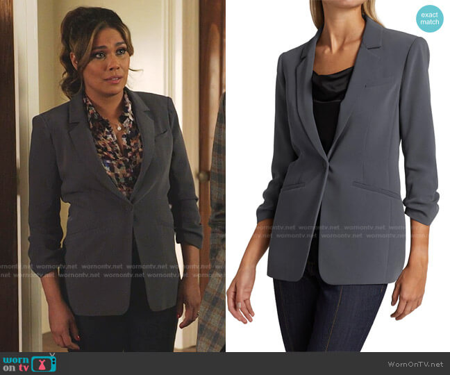 Khloe Crepe Ruched Blazer by Cinq a Sept worn by Cristal Jennings (Daniella Alonso) on Dynasty