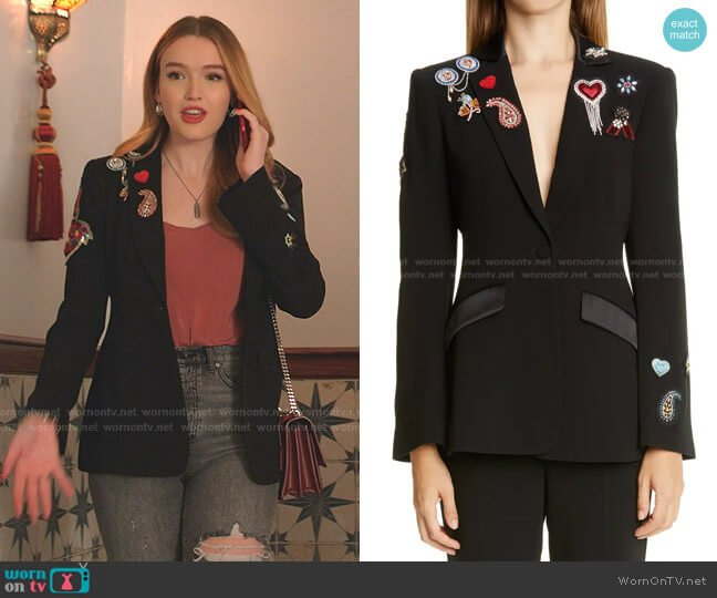 Love Cheyenne Bejeweled Blazer by Cinq a Sept worn by Kirby Anders (Maddison Brown) on Dynasty