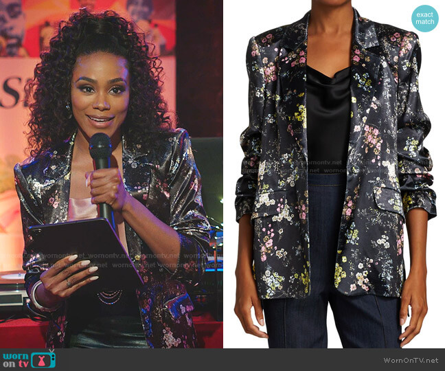 Sakura Floral Jacket by Cinq a Sept worn by Shannon Thornton on Dynasty