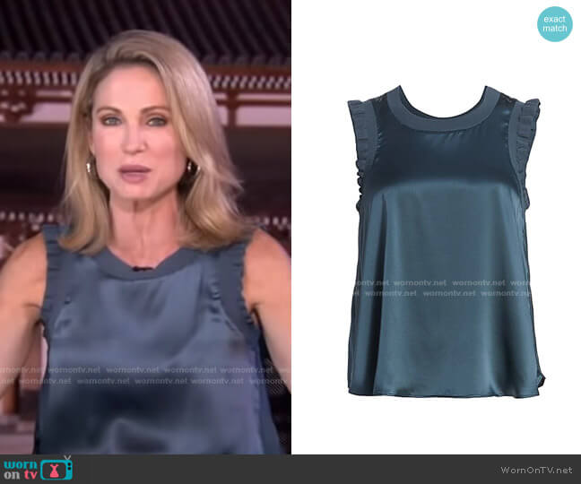Lenore Ruffle Silk Blouse by Cinq a Sept worn by Amy Robach  on Good Morning America