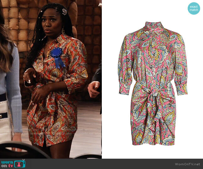 Cinq a Sept Gaby Paisley Dress worn by Harper (Laci Mosley) on iCarly