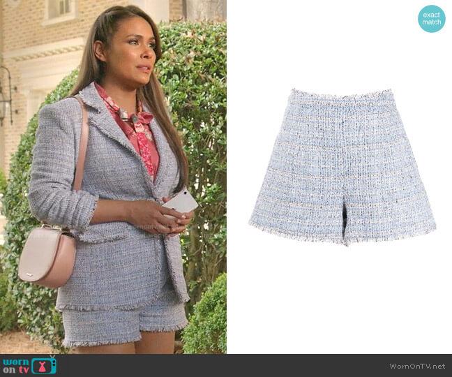 Coronado Shorts by Cinq a Sept worn by Cristal Jennings (Daniella Alonso) on Dynasty