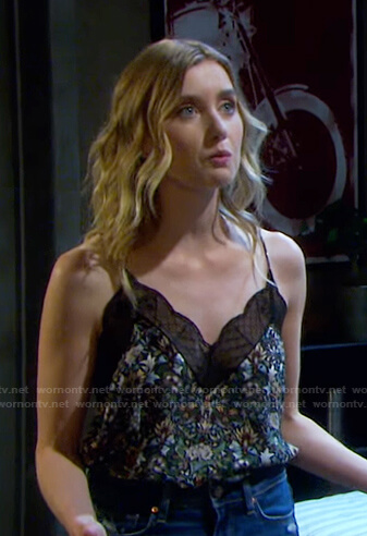 Claire's black floral lace trim cami on Days of our Lives