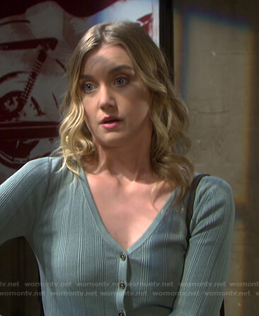 Claire's green ribbed cardigan on Days of our Lives