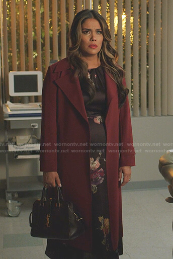 Cristal's burgundy coat on Dynasty