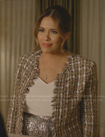 Cristal's tweed jacket and sequin pleated skirt on Dynasty