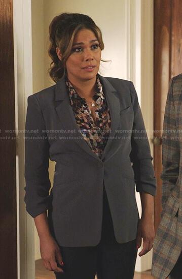 Cristal's grey ruched sleeve blazer on Dynasty