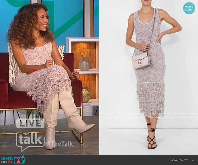 Sleeveless Midi Length Dress with Tiered Fringe by Cushnie worn by Elaine Welteroth  on The Talk