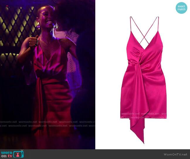 Cushnie Asymmetric Satin Mini Dress worn by Ella McFair (Andrea Bordeaux) on Run the World