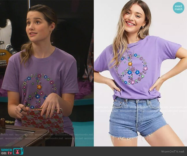 Relaxed t-shirt with peace sign print in purple by Daisy Street at ASOS worn by Lex (Jules LeBlanc) on Side Hustle