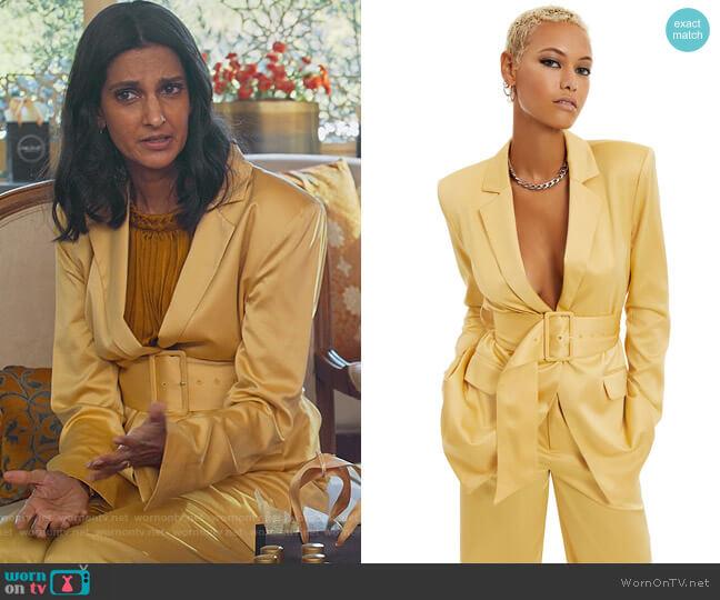 Belted Satin Polyester Blazer by Danielle Bernstein worn by Nalini Vishwakumar (Poorna Jagannathan) on Never Have I Ever