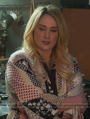 Davia's mixed print kimono on Good Trouble